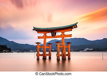 Miyajima Gate in Japan - Miyajima, Hiroshima, Japan at the...