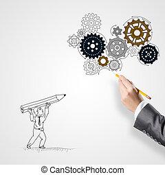 mujer de negocios, Elaboración, sketches, ,