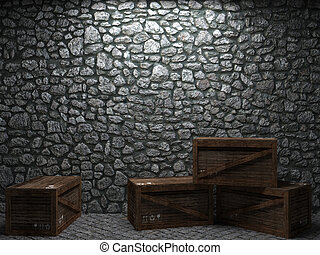 illuminated stone wall and boxes