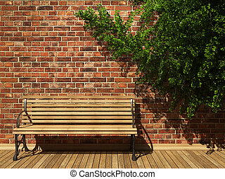 illuminated brick wall and bench made in 3D graphics