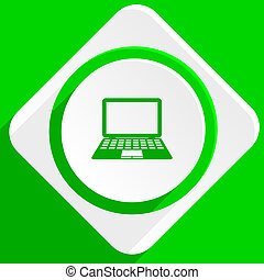 computer green flat icon