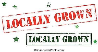 Locally grown - Rubber stamp with text locally grown inside,...