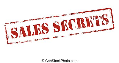 Sales secrets - Rubber stamp with text sales secrets inside,...