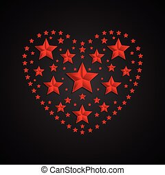 Heart symbol made of red stars on black background