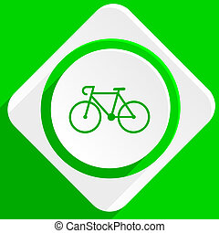 bicycle green flat icon