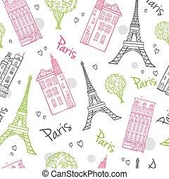 podróż, romantyk, Paryż, ulice, Seamless,...