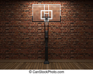old brick wall and basketball made in 3D graphics