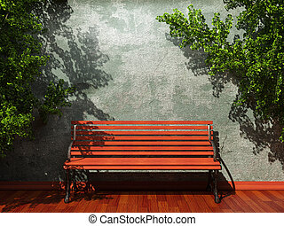 old concrete wall and bench made in 3D graphics
