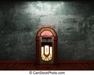 old concrete wall and jukebox made in 3D graphics