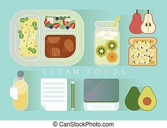 Clean foods design vector blue set