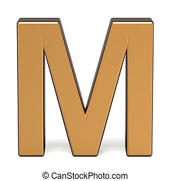 3d glossy gold letter M