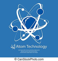 Atom on blue & text