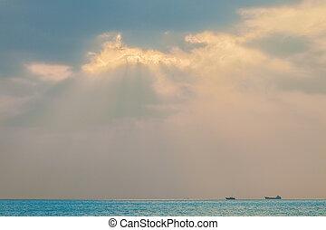 marina, pomeriggio, foschia, inverno, giorno