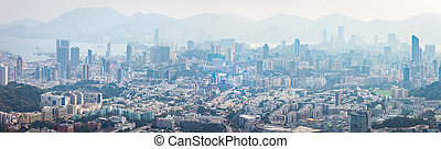 Panorama  of Residential and business area of east Hong Kong