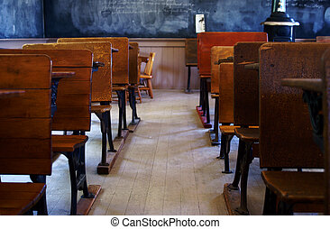 Old Schoolhouse Classroom - Inside the classroom of a...
