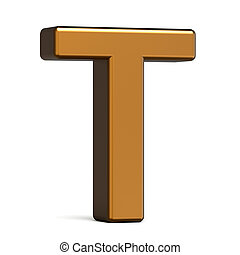 3d glossy gold letter T