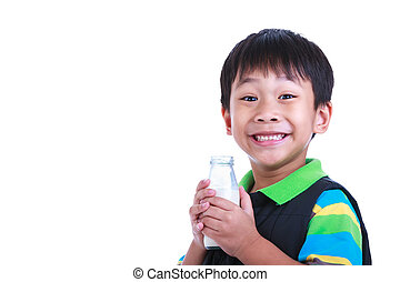 Close up boy smiling and holding bottle of milk, on white. -...