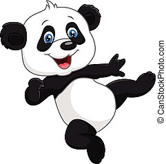 Adorable baby panda isolated - Vector illustration of...