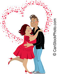Be my Valentine - An illustration of a cuple in love with...