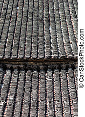Texture detail of old Chinese house rooftop, Hong Kong