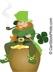 Leprechaun - Illustration of Leprenauch sitting on golden...