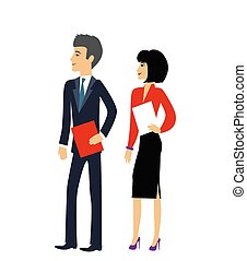 Male and Female as Office Businesspeople Icon - Office...