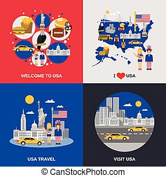 USA Culture 4 Flat Icons Square - Welcome to usa cultural...