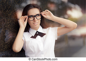 Elegant Woman Wearing Glasses - Portrait of a beautiful...