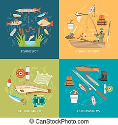Fishing Concept Icons Set - Fishing concept icons set with...
