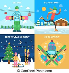 Winter sport concept - Winter sport design concept set with...