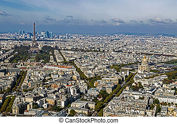 Aerial view, from Montparnasse tower, with Eiffel tower and...