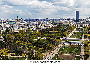 Aerial view on Champ de Mars from Eiffel tower. Paris -...