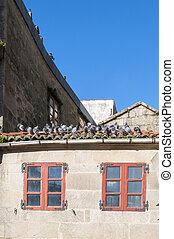 Pigeons on the tiled roof Photo taken in the Herreria...