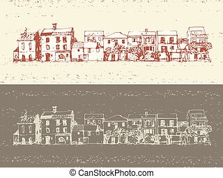 old town houses - hand drawn vector illustration with...