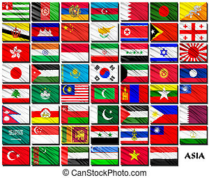 Flags of Asian countries in alphabetical order