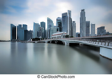 Jubilee Bridge Singapore - Singapore city skyline and the...