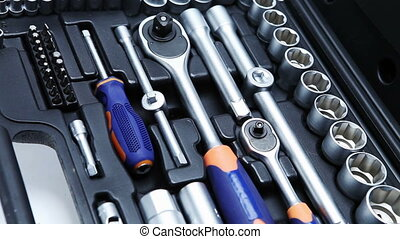 Set of tool in suitcase