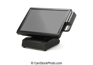 Point Of Sale System With Wide Screen Monitor On White...