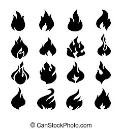 Fire flames, set icons.