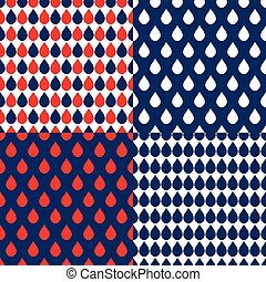 Navy Blue Red Water Drops Background Vector Illustration