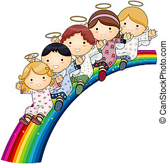 angeli, arcobaleno