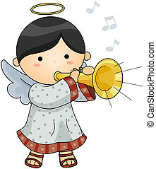 Blowing Horn - Cute Angel blowing Horn with Clipping Path