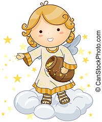 Sprinkling Stars - Cute Angel sprinkling stars with Clipping...