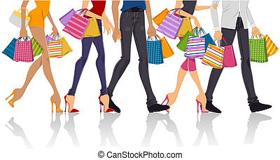 Shopping - Lower Body of People Shopping with Clipping Path