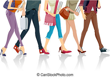 Students - Lower Body of Students walking with Clipping Path