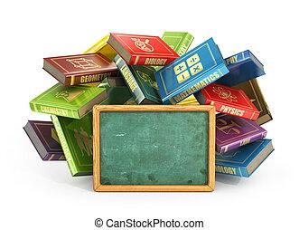 Flying books with empty school blackboard. Concept of school.