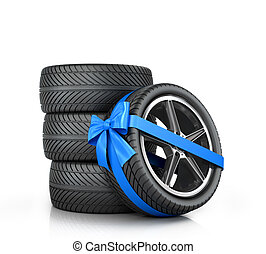 Car Wheel enveloped in a blue ribbon and bow on a white...