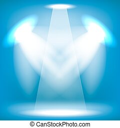 Stage Spotlight Background - Spotlights Isolated on Blue...