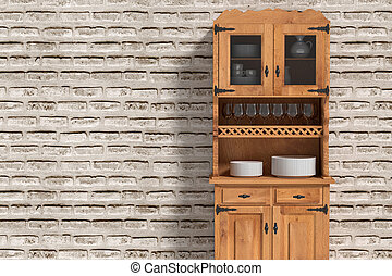 Close-up of sideboard with crockery - 3d rendering of a...