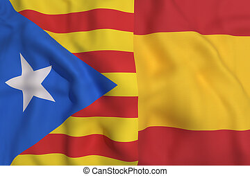 catalonia and spain flag - 3d rendering of a catalonia and...